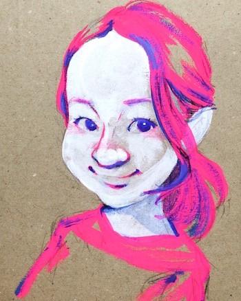 ヘアメイクアーティスト根本亜沙美さんの似顔絵