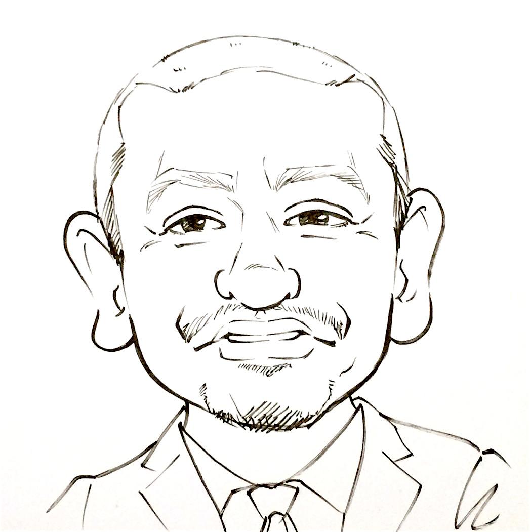 口角が下がっている笑顔を描くのは難しい!? 白黒で松本人志を例に描きました