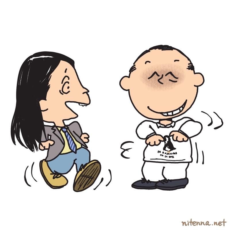 スヌーピー風に描いたトム・ブラウンの似顔絵(マジェリン作)
